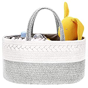 diaper caddy basket, abenkle cotton rope diaper storage basket, portable baby caddy basket for boy's nursery diaper organizer for changing table