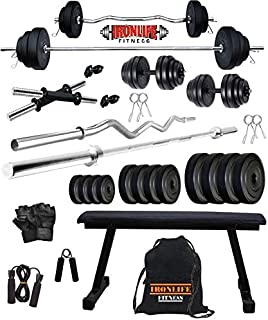 Iron Life Fitness Leather 20 Kg Weight Plates, 5 and 3 ft Rod, 2 D.Rods Home Gym Equpments Dumbbell Set with Flate Simple Bench Press