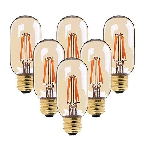6er-Pack Antike Filament 4W LED Lampe ersetzt 40 Watt E27 Birne, Dimmbar, Retro Vintage Industry Style Deko Glühbirne, Röhrenförmig Form