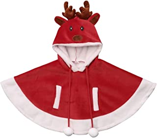 Christmas Outfit Kids Toddler Baby Girl Reindeer Hooded Fleece Cape Cloak Poncho Warm Coat