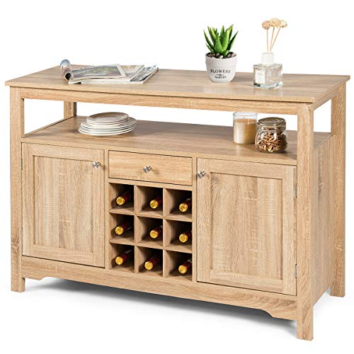 Mejor Kings Brand Furniture White With Marble Finish Buffet Display Console Table With Wine Storage crítica 2020