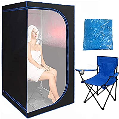 ZONEMEL Portable Full Size Infrared Sauna, Home Spa Detox Therapy with Heated Floor Pad, Upgrade Reinforced Portable Chair