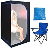 ZONEMEL Portable Full Size Infrared Sauna, Home Spa Detox Therapy with Heated Floor Pad, Upgrade Reinforced Portable Chair, Sauna Robe-Black