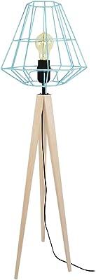 Tosel 51297 Lampadaire 1 Lumière, Bois, E27, 40 W, Blanc, 30 x 150 cm