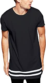 Men's Striped Hip Hop Basic Longline Crewneck T-Shirt
