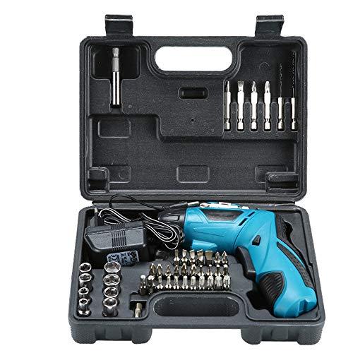 Taladro eléctrico 4.8V juego de destornilladores multifuncional recargable de mano eléctrico, Batería recargable de 4,8 V de la Batería y luz LED. (blue)