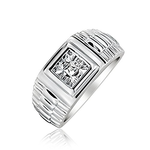 Bling Jewelry Mens Geometric Square Invisible Cut CZ Grooved Band Style Engagement Ring Pinky Ring for Men 925 Sterling Silver