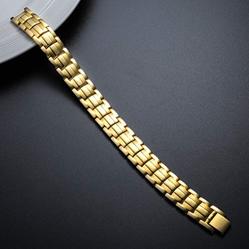 Pasiro 磁気ブレスレット メンズ ゲルマニウム 42粒 ゴールド 静電気除去 睡眠改善 肩こり解消 血行促進