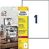 Avery Zweckform Etichette resistenti per dimensioni personalizzabili poliestere, 210x297mm, 20, colore: Bianco