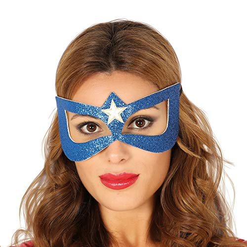 NET TOYS Stylische Superhelden Augenmaske für Erwachsene - Blau-Weiß - Geheimnisvolles Party-Maskerade Supergirl Maske - EIN Highlight für Mottoparty & Kostümfest
