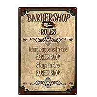 オリジナルのレトロなデザイン理髪店のルール錫金属看板壁アート、厚いブリキ印刷ポスター壁の装飾看板