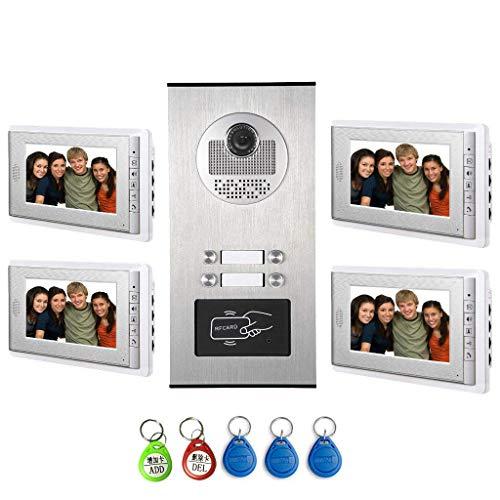 "AMOCAM Video Intercom Entry System, Wired 7"" LCD Monitor Video Door Phone Kits for 4 Units Apartment, Support Monitoring, Unlock, Dual Way Door Intercom, RFID Keyfob Unlock,New"