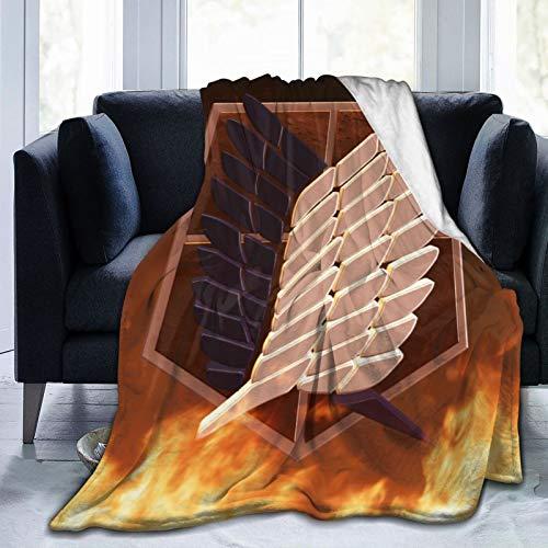 Manta de franela con flecos de pompón, manta de viaje de anime Attack-On-Titan con estampado de bolas, manta de viaje ligera para mujeres y niños de 152 x 122 cm