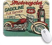 ROSECNY 可愛いマウスパッド レトロヴィンテージガソリンルート66クラシックバイクモトバイカーノンスリップゴムバッキングマウスパッドノートブックコンピュータマウスマット