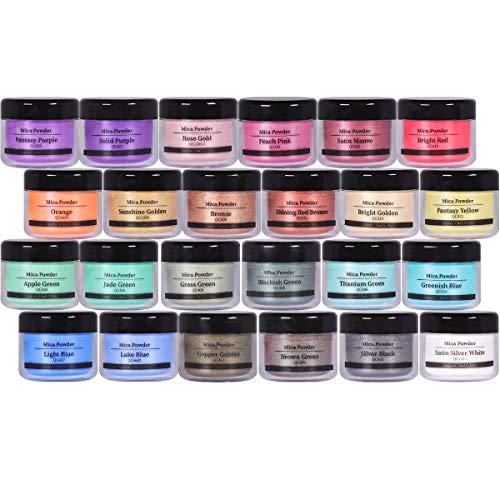 Mica Powder 24 Color Powdered Set for Painting Pigments, Nail Polish, Fine Arts, Lip Gloss, Makeup, Bath Bomb, Handmade Soap Making Dye, Epoxy Resin