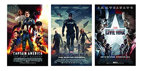 PremiumPrints - Marvel Captain America The Winter Soldier Civil War 3 Movie Poster Set - MSET10 Premium Canvas 11' x 17' (28 cm x 43 cm)