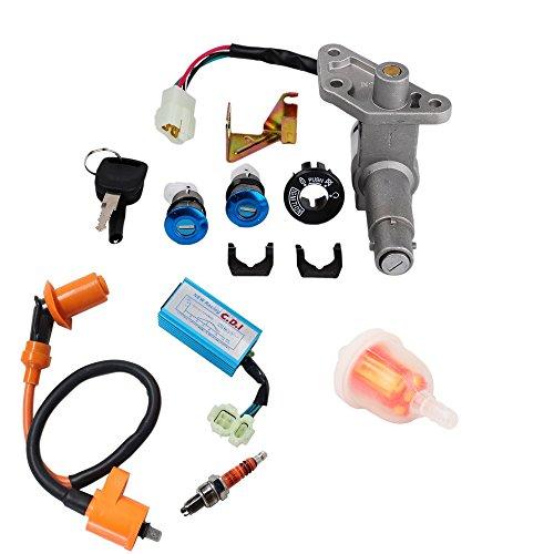 oxoxo llave Set para GY6150cc chino Scooter Ciclomotor, rendimiento alambres redondo ca Fired 6pines CDI bobina de encendido Bujía de 3elecrode con gas filtro de combustible