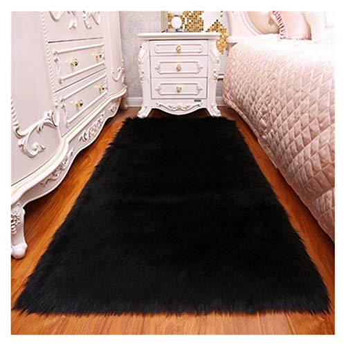 ZNYD Teppichmatte Massive Teppich Wohnzimmer künstliche Haut Rechteck Flauschige Matte Pad Anti-Rutsch-Stuhl Sofa-Cover-Plain-Bereich Teppiche (Farbe : Schwarz, Größe : 120x120cm)