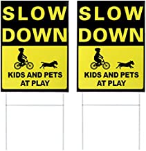 Kichwit 2 Pack Double Sided Slow Down Kids and Pets at Play Yard Signs with Metal Stakes, Sign Measures 11.8 x 15.7 Inches
