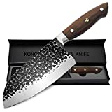 KONOLL Kitchen Knife 7 inch German High Carbon Steel Hammered Chinese Knife with solid wood...