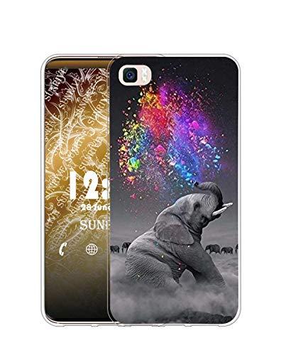 Sunrive Funda Compatible con Huawei P8 Lite (2015), Silicona Slim Fit Gel Transparente Carcasa Case Bumper de Impactos y Anti-Arañazos Espalda Cover(Q Elefante 2)