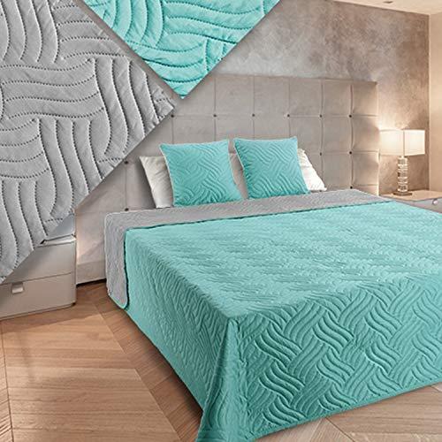 Euromat Vigo - Colcha (3 piezas, 220 x 240 cm, incluye 2 fundas de almohada), color gris claro y turquesa