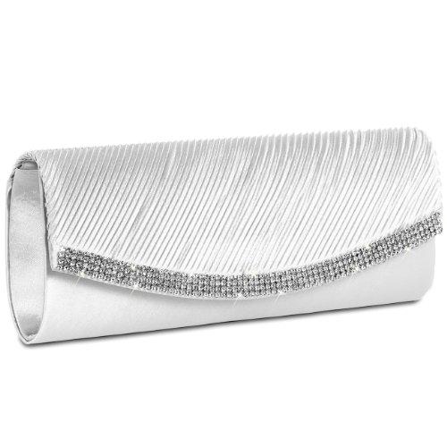 Caspar TA291 Bolso de Mano Fiesta para Mujer Clutch de Satén con Estrás, Color:blanco