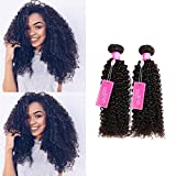 ISEE Hair Virgin Malaysian Deep Curly Jerry Curly Human Hair One Bundles,100% Unprocessed Human Curly Hair Extensions Natural Black Can Be Dyed (26'')