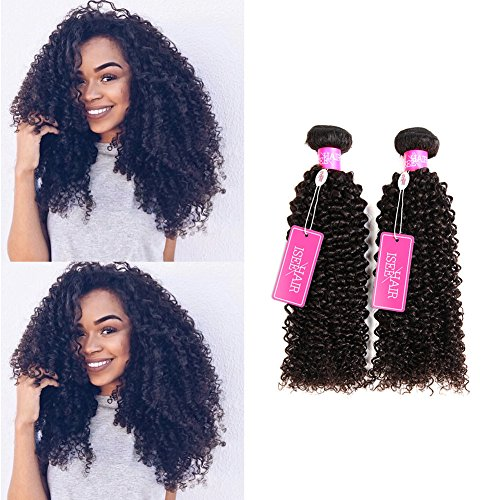 ISEE Hair Virgin Malaysian Deep Curly Jerry Curly Human Hair 3 Bundles,100% Unprocessed Human Curly Hair Extensions Natural Black Can Be Dyed 16 18 20inches