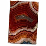 3D Rose Banded Agate-Rust Colored Hand Towel, 15' x 22', Multicolor