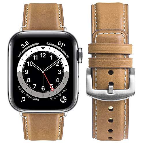 Correa Compatible con Apple Watch 38 mm 40 mm 42 mm 44 mm, Fullmosa Yola Serie Pulsera de Piel Bruñida para iWatch SE Series 6/5/4/3/2/1, Marrón Claro + Hebilla Plata 38mm