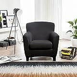 Bellboni® Couchhusse für Einsitzer Couchsessel oder Loungesessel, Sofabezug, bi-elastische Stretchhusse, Spannbezug für viele gängige Einer Sessel, schwarz - 3