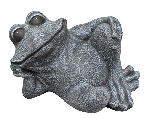 Tiefes Kunsthandwerk Steinfigur Frosch sitzend - Schiefergrau, Dekofigur, Gartenfigur, frostsicher