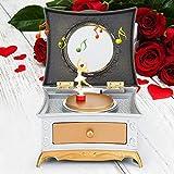 Caja de música para chica bailando, caja de almacenamiento de juguetes, joyería de regalo, decoración para el hogar, tocador, caja de música (blanco plateado)
