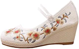 Inlefen Female Chinese Style Embroidered Canvas High Wedge Shoes with Cotton