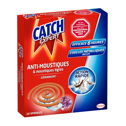Catch Expert Moustiques – Spirales Extérieures Anti-Moustiques & Moustiques Tigres – Parfum Géranium – 10 Spirales