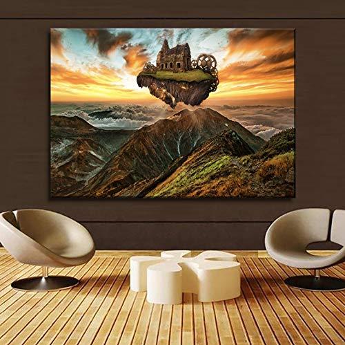 REDWPQ Montañas Edificio Motor Engranajes Steampunk Cuadro de Pintura sobre Lienzo Tipo de impresión Decorativo para el hogar Arte de la Pared Cartel 40 * 60 cm sin Marco
