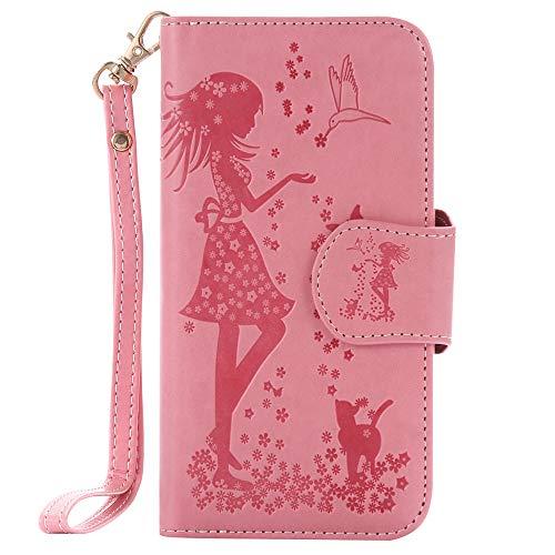 Capa carteira com 9 compartimentos para cartão XYX com espelho para Samsung Galaxy S7 Edge, rosa, Samsung Galaxy S7 Edge