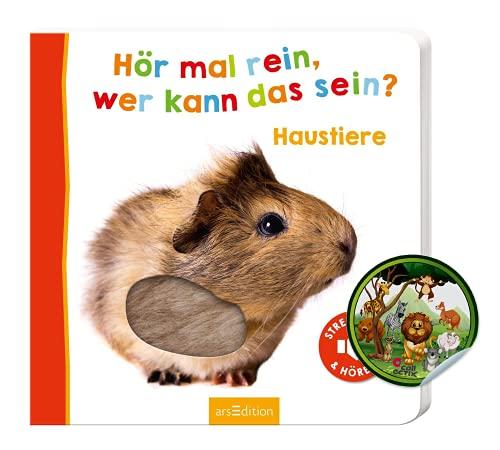 Buchspielbox Hoor eens in, wie kan het Sein? Huisdieren: aaien en horen   Soundboek vanaf 18 maanden   Kartonnen fotoboek met kinderen dierenstickers