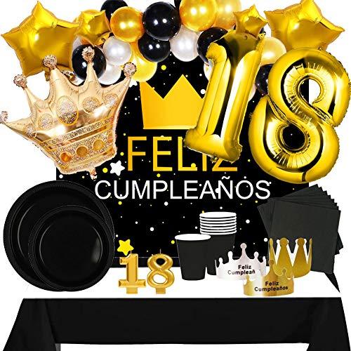 Fiesta Cotigo Pack de Artículos para Fiesta Cumpleaños Número 18-Decoración de Globos Cumpleaños,Set de Vajilla Desechable y Accesorios-Temática Negra y Dorada para Adultos Hombres y Mujeres