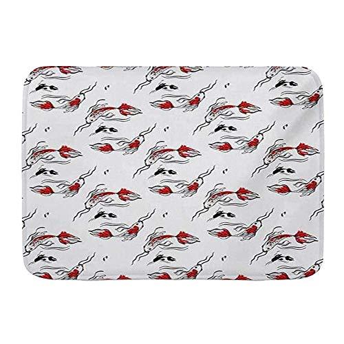 Tapetes para puertas, carpas abstractas Koi inspiraciones de la cultura japonesa Doodle criaturas marinas, piso de cocina alfombra de baño alfombra absorbente para baño interior decoración felpudo ant