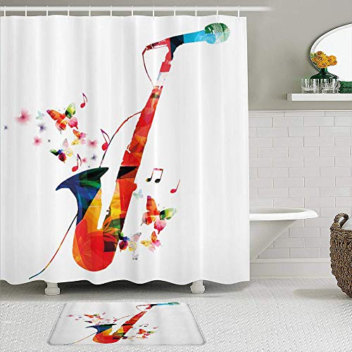 KISSENSU Cortinas con Ganchos,Música Jazz Tema Saxofón Colorido con micrófono con diseño de armonía de Orquesta de Mariposas,Cortina de Ducha Alfombra de baño Bañera Accesorios Baño Moderno