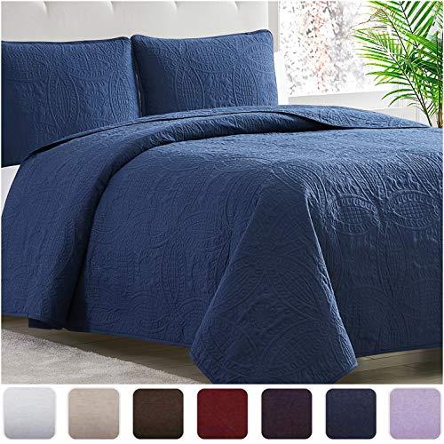 Mellanni Bedspread Coverlet Set Navy - Comforter Bedding Cover - Oversized 3-Piece Quilt Set (Full/Queen, Navy)