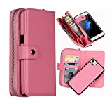 Hynice iPhone 6 Plus Wallet Case, iPhone 6S Plus Wallet Purse Case Leather Zipper Case with credit card slots and Magnetic Detachable Slim Cover for iPhone 6 Plus/6S Plus 5.5' (Litchi-pink)