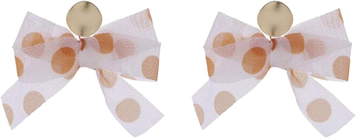 Retro Clip on Earrings for Women Girls White Bowknot Earrings Fleck Lace Dangle Drop Vintage Statement