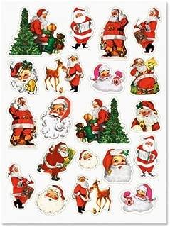 Retro Santa Stickers - 2 Sheets (40 Stickers Total)