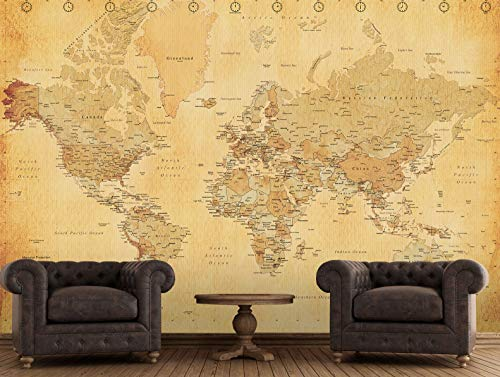 1 Wall Decorazione Gigante da Muro OLDMAP - Maxi Sticker da Parete Giant Wallpaper Mappa Globo