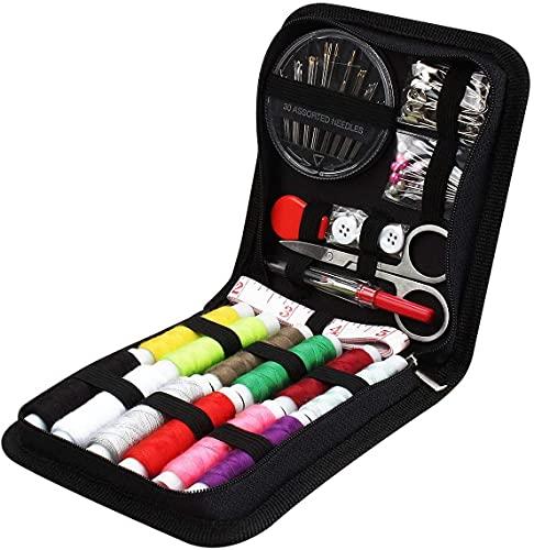 JUNING Kit de Costura 73 piezas, accesorios de costura, 12 carretes de hilo, 50 m, con bolsa de transporte costurero agujas coser