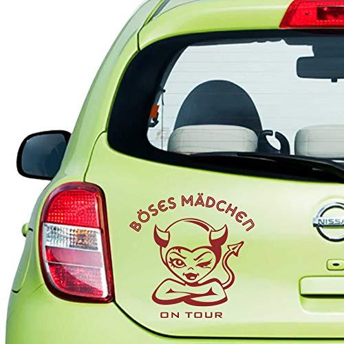 INDIGOS UG Aufkleber - Autoaufkleber Böses Mädchen 60cm x 60cm dunkelrot - Tuning Carystyling Heckscheibe Auto