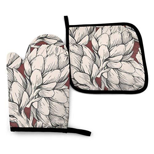 Manoplas y agarraderas para horno de alcachofa pintadas a mano, guantes para barbacoa, manoplas y soportes para ollas con guantes de poliéster impermeables para cocinar para cocinar, hornear, asar